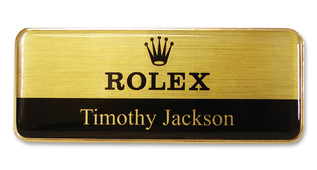Executive Metal Badges - Gold border and brushed gold / black background | www.namebadgesinternational.us